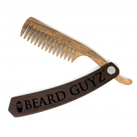 Folding Straight Razor Style Wood Comb